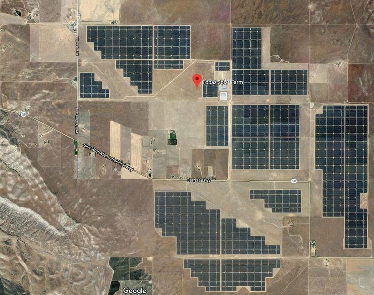Topaz Solar Park: фото со спутника
