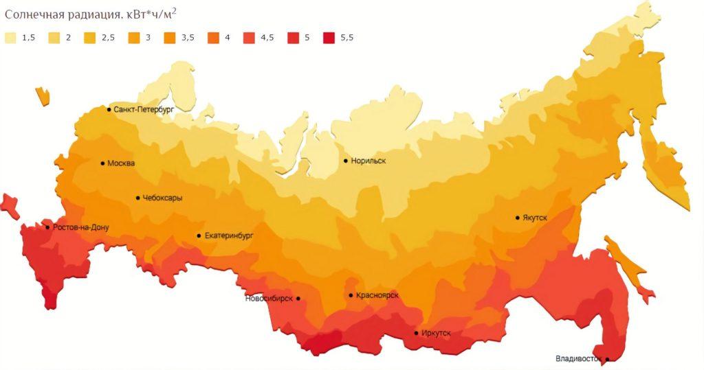 Карта России с нанесённым слоем солнечного излучения